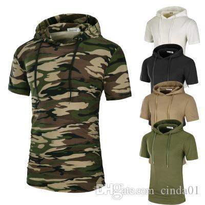Uomini T Alta con cappuccio Solido stampato Camouflage T Mens Cotone Camicie Homme Sleeve Camicia Tee Breve Longlines Street Wear Acpsw