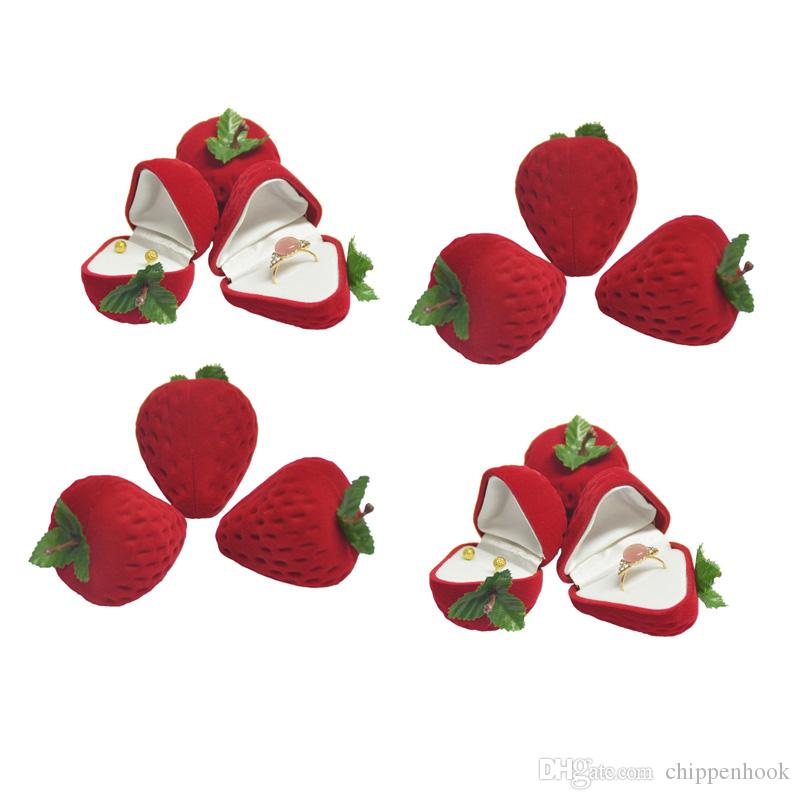 Wholesale Cute Strawberry Earring Stud Storage Case Little Girl Red Form Velvet Earring Trinkets Ring Protector Flocking Stud Gift Box