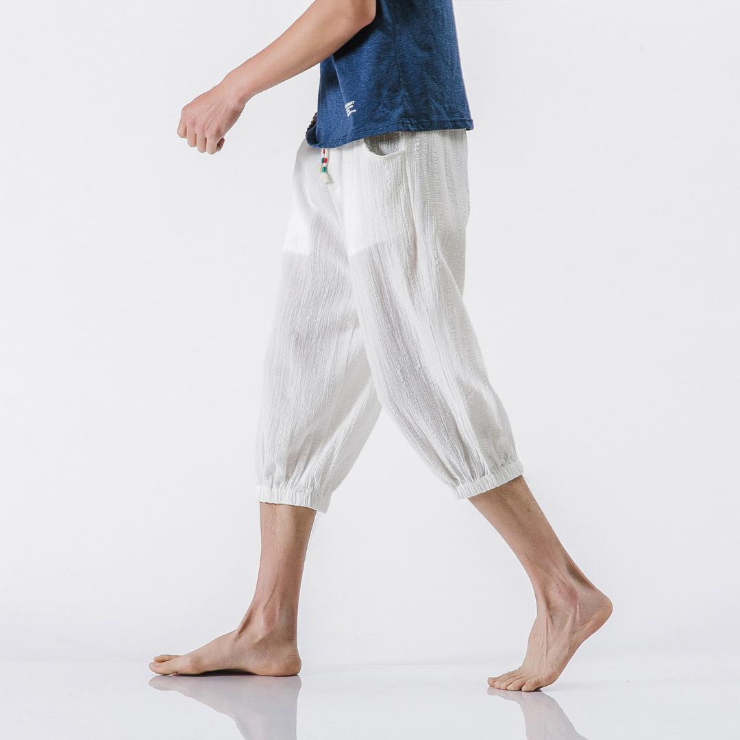 SHAN BAO ropa de marca pantalones casuales de lino 2018 pantalones de gran tamaño de verano de los hombres cómodos respirables