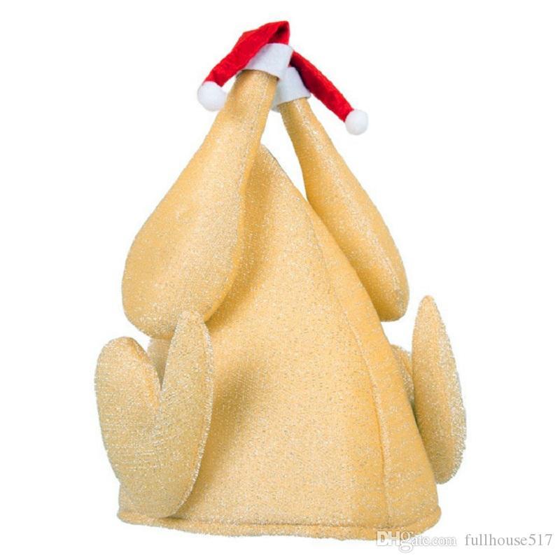 Vestido de Turquía Sombrero de lujo unisex divertido de la novedad Broma Brown Día de Acción de Gracias Pavo Asado de Navidad Turquía Sombrero Festival Sombreros de dibujos animados