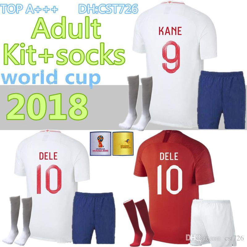 2018 WORLD CUP soccer jerseyROONEY STERLING VARDY KANE DELE ADULT KIT+SOCKS SHORTS SOCKS JERSEY HOME AWAY RED SHIRT football SKIRT