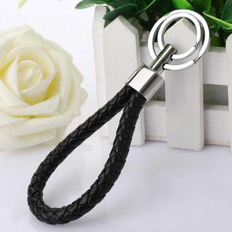 Neue populäre Lederband Webart-Seil-doppelte Ring-Auto-Schlüsselring-Beutel-Car-Styling-Verzierungen Anhänger Schlüsselanhänger Geschenk