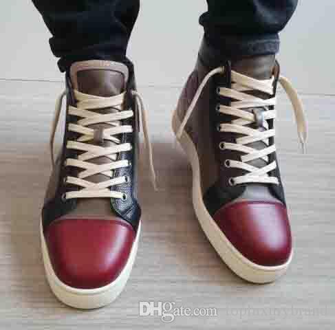 [مع حقيبة يد] أعلى هدية عيد ميلاد مصمم العلامة التجارية الوحيدة النبيذ الأحمر النبيذ الأحمر جلد طبيعي أحمر أسفل الرجال حذاء رياضة أورلاندو ماست سنيكرز