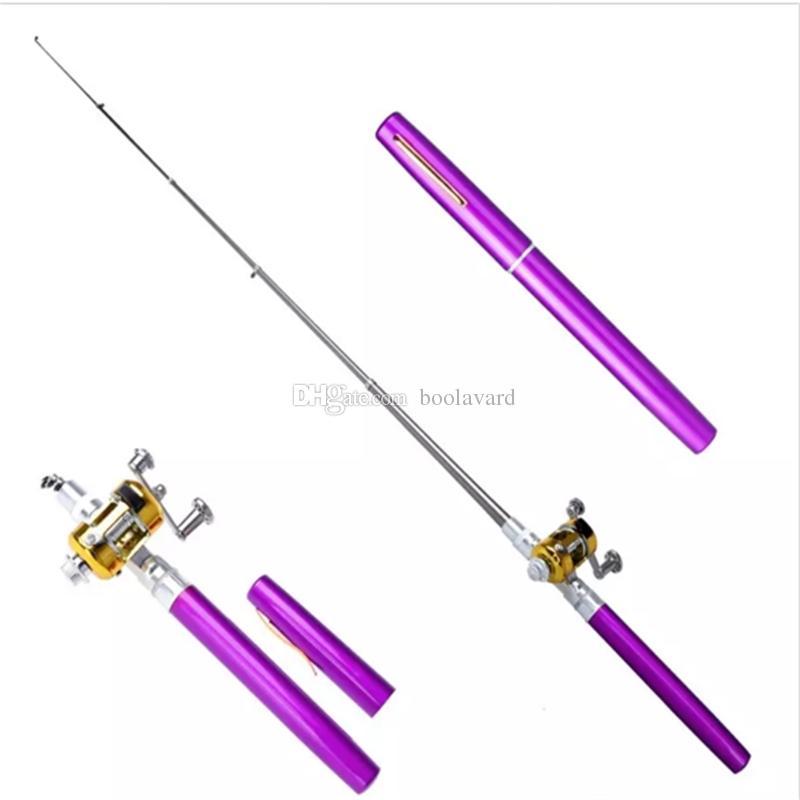 Mini Aluminum Pocket Pen Fishing Rod Pole PURPLE in 2020