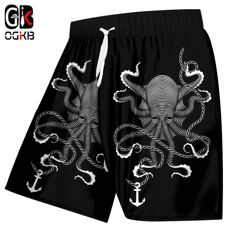 OGKB Herren Strand Shorts Sommer Cool Print Tintenfisch Marine Anker 3D Board Bermuda Shorts Mann Fitness Workout Knie-Länge Trouses