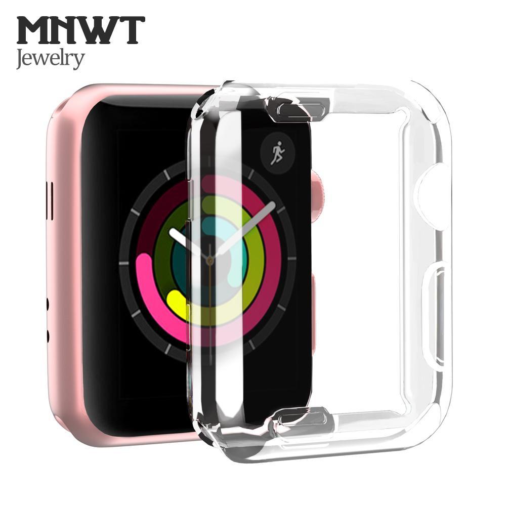 MNWT كفر حماية رقيق للغاية لجهاز أبل ووتش سيريز 1 2 3 واقي الشاشة 42 ملم / 38 ملم غطاء تي بي يو شفاف