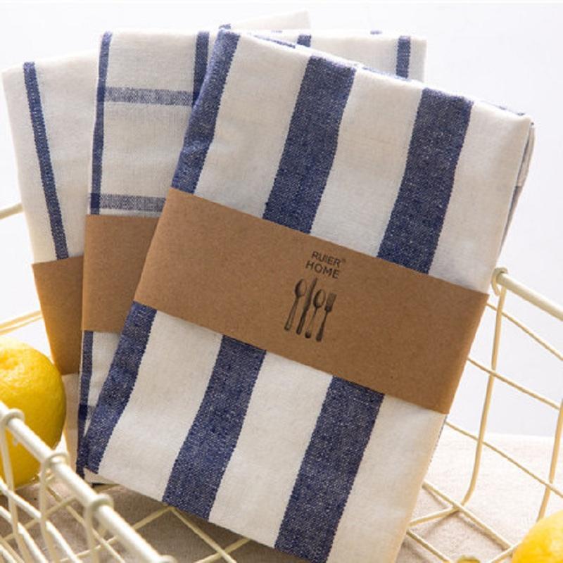 Servilleta azul / blanca de la tabla de la toalla de la cocina del paño de la toalla del control / de la raya hecha de la tela 100% del hilo-Tinte