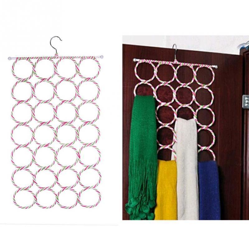Multi-uso Roupas Tie Belt Scarf Cabide Titular Rack Organizar cabide Gancho Portátil Casa Acessório 28 Anel