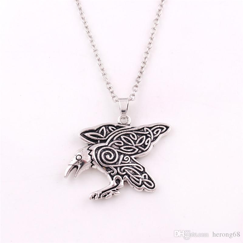 Hot Sale Viking Necklace For Female Male Magical Animal Crow Raven Pattern Charm Five Kinds Chains Zinc Alloy Provide Dropshipping