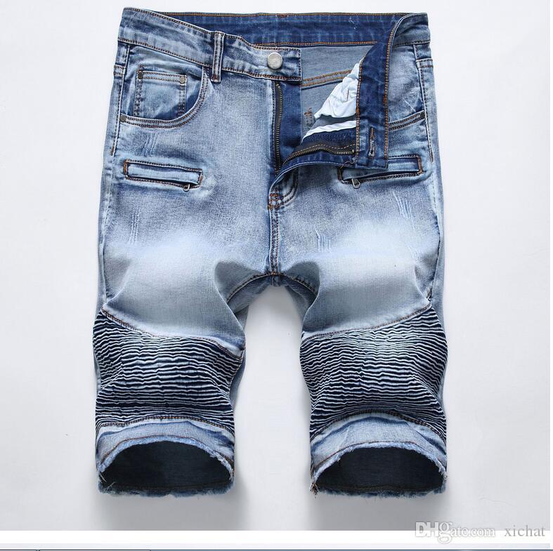 2018 homens de Algodão Ocasional dos homens calções de brim dos desenhadores designer retro dos homens buraco Na Altura Do Joelho denim Shorts jeans tamanho grande calças tamanho 28-42