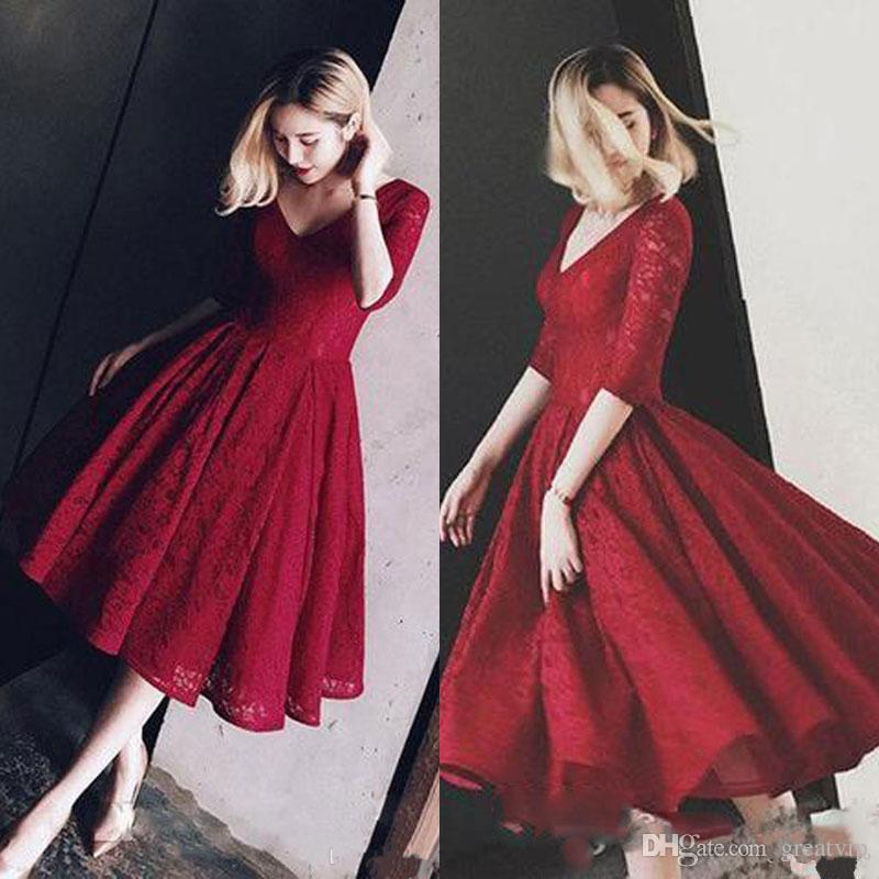 Dark Red Full Lace Short Prom Dress With Sleeves A-line Tea Length Vintage Bridal Gowns 50s Beach Prom Party Dresses