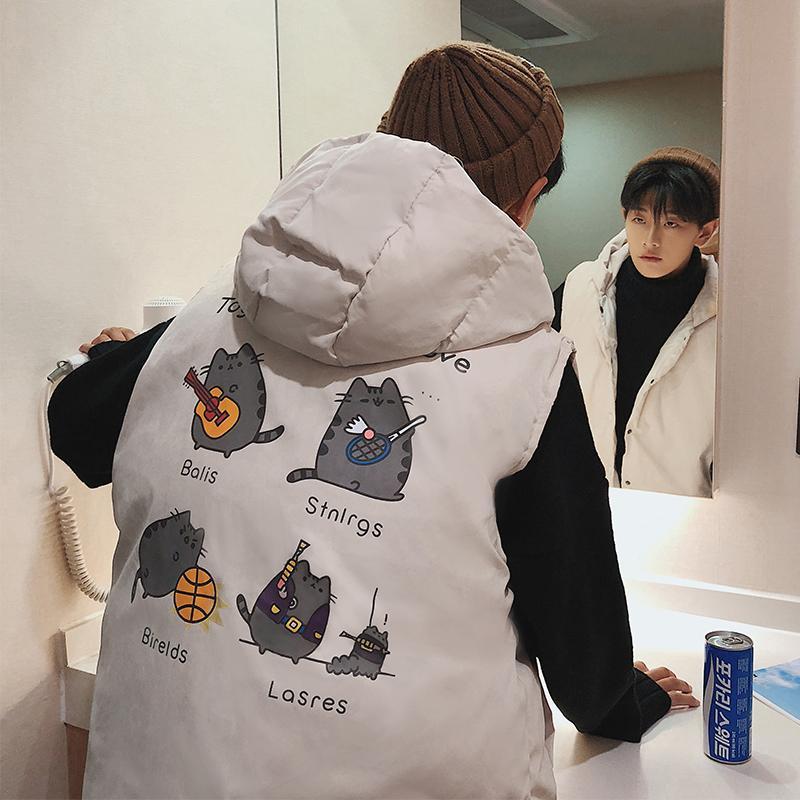 Com capuz Vest 2018 Outono E homens novos do inverno Hem cordão de Down quente algodão acolchoado solto Vest Jacket Khaki / preto M-5XL