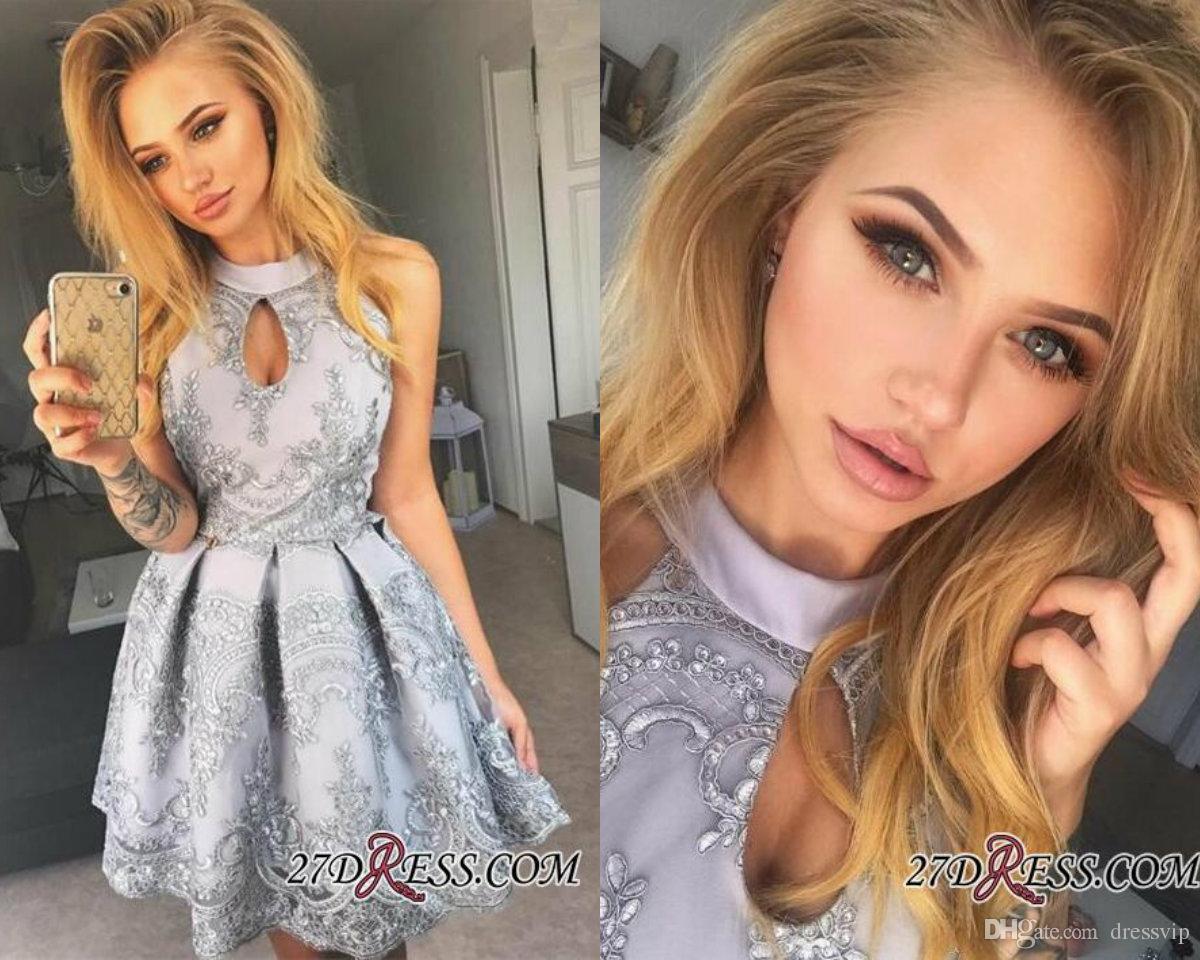 Halter Keyhole 2018 Homecoming Sukienka Koronkowe Aplikacje Bez Rękawów Seksowna Krótka Sukienka Party Wear Prom Dress A Line Plus Size Evening Suknie