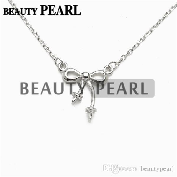 Bowknot Necklace Blank for Pearls Mounting 925 Sterling Silver Chain Base with 2 Blanks 5 Pieces
