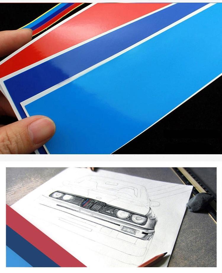 Auto anteriore griglia Sport Trim strisce M Styling Motorsport tricolore adesivi per BMW 1 3 5 Series X5 X6