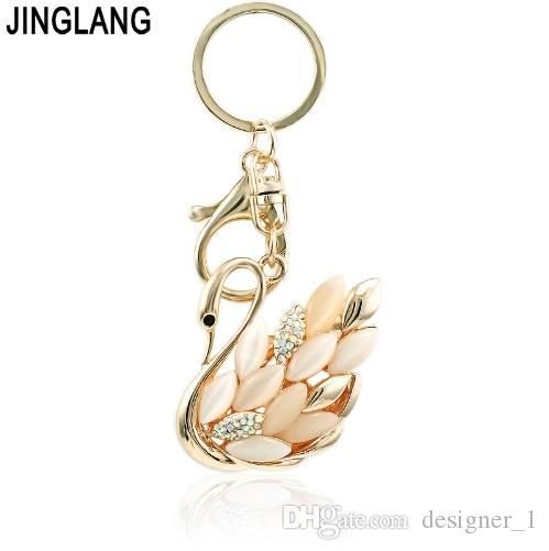 JINGLANG Or Couleur Fermoir Métal Opale cristal Dangle Keyring Swan Charms Porte-clés pour les bijoux sac à main femme