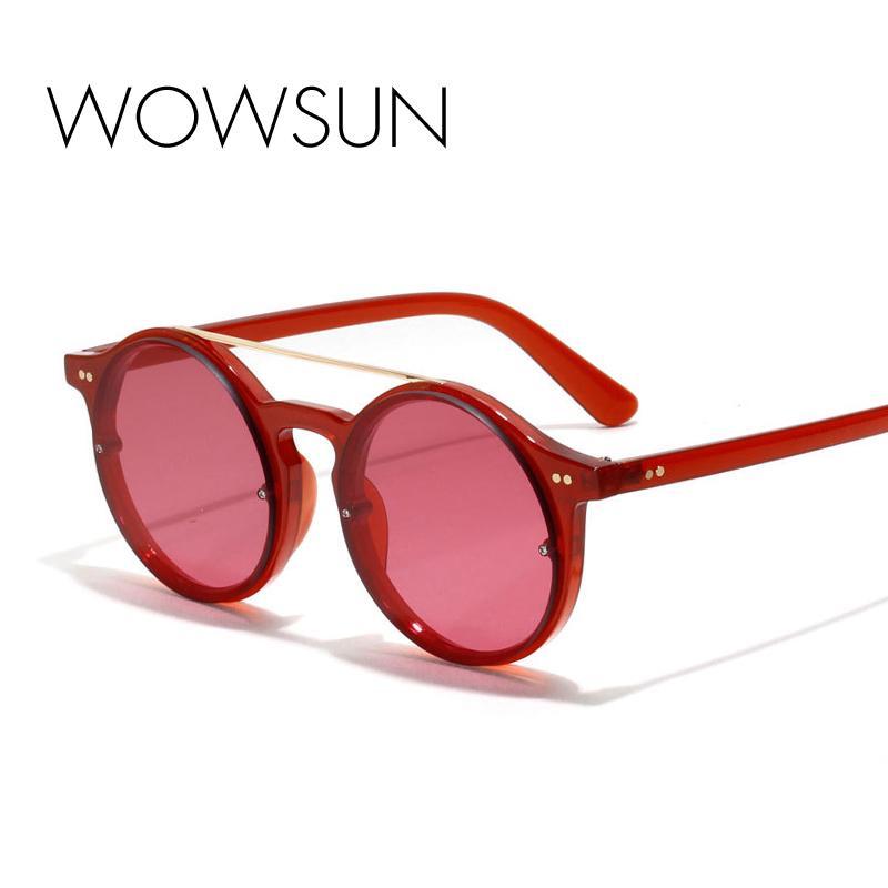 WOWSUN Vintage Round Sunglasses Women Brand Black Red Acetate Frame Eyewear Double Bridge Sunglasses Female UV400 A607