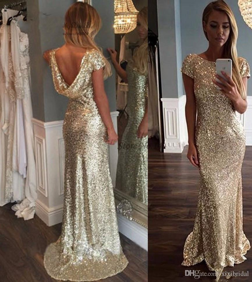 Gold Sequined Evening Dresses 2017 Sexy Backless African Mermaid Prom Party Gown Formal Vestido De Formatura
