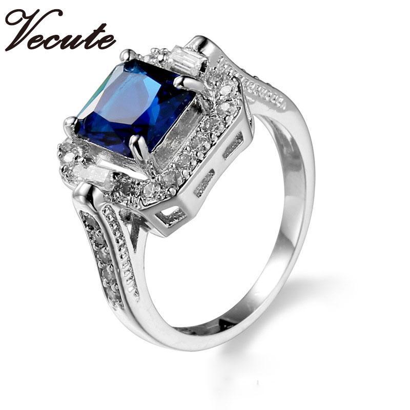 Acheter Fashion Top Qualité 18K Bague En Cristal Bleu Bleu Plaqué Or Pour  Femme Mariage Engagement Bijoux Vente Chaude Vente En Gros De 2,15 € Du ...