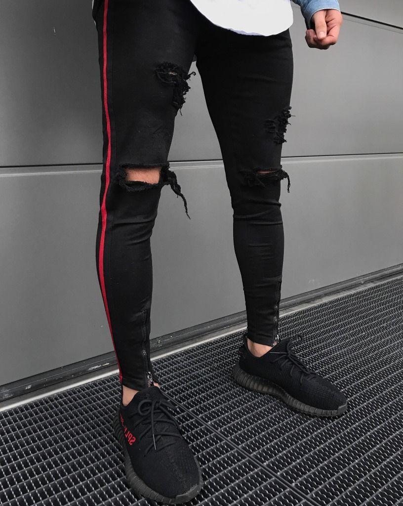 2018 Neue Angekommene Männer Seite Roten Streifen Biker Jeans Denim Zerrissene Löcher Dünne Abendessen Dünne Hip Hop Jeans Männer
