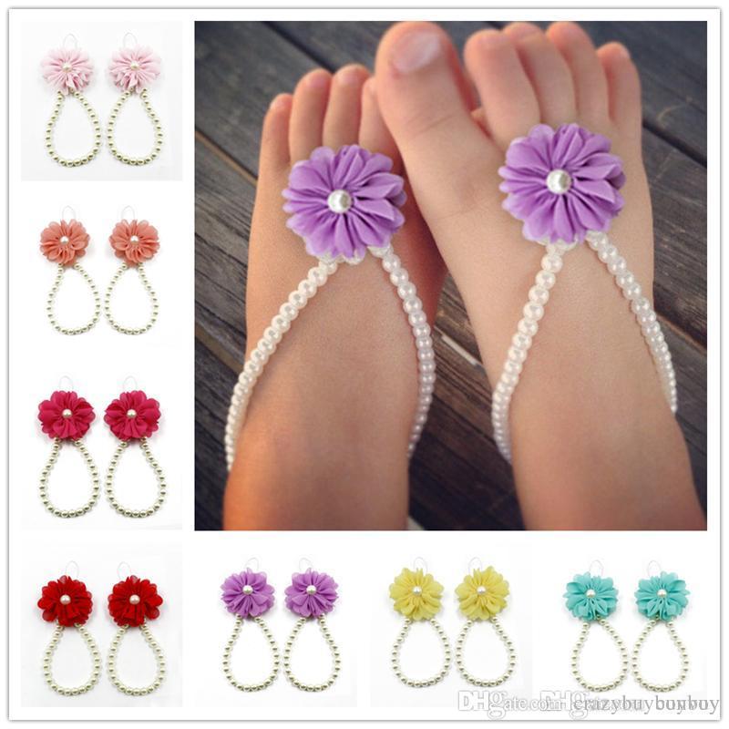 Bébé pied fleur sandales simulé nacre bracelets bébé sandales aux pieds nus bébé filles pied bande bagues d'orteil pied ornement KFA21