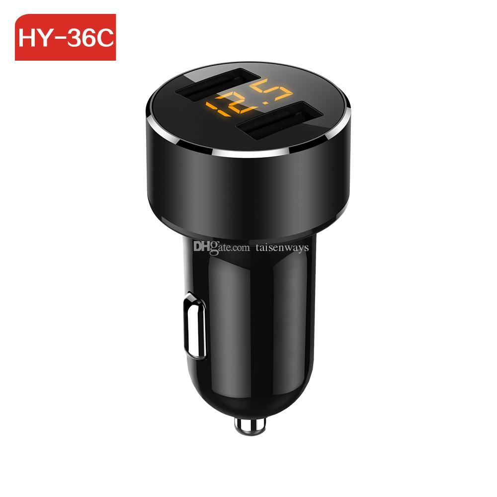 HY36C car charger Mini 3.4A Dual usb Port fast charger car-styling Voltage detection for phone Quick Car Charger