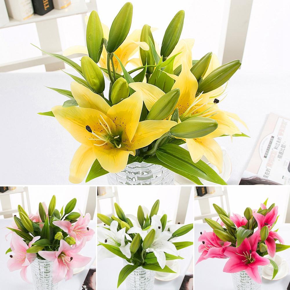 Single 1 PCS 3 Film PVE Lily Simulation Plastic Flower Wedding Decoration Insuments Fake Flowers