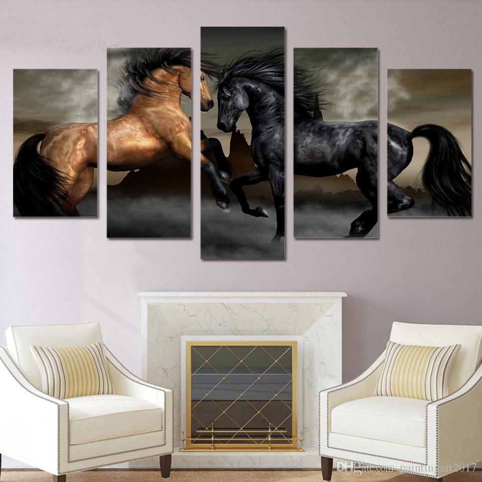 HD Printed 5 piece canvas art black brown horse painting wall pictures for living room wall art home decor gift