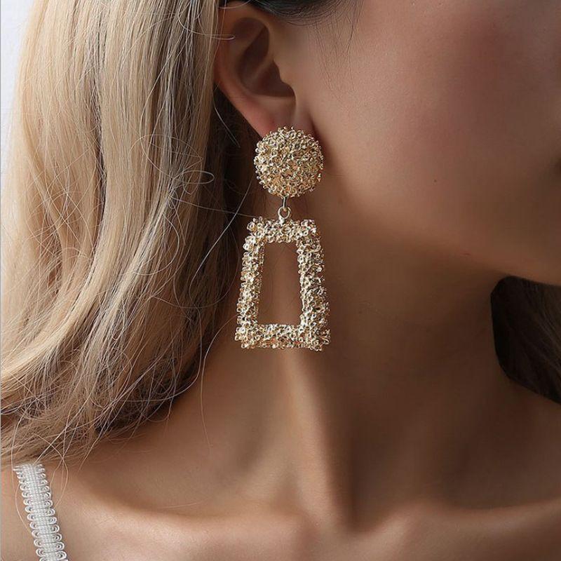 Wedding Earrings for Women Exaggerated Big-name Geometric Earrings Retro Ethnic Style Bohemian Earrings Travel Commemoration 2018