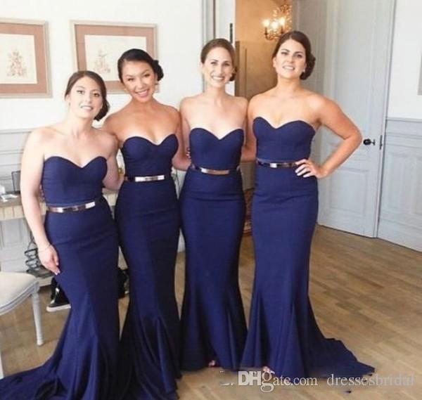 Robes de châle bon marché robe de demoiselle d'honneur longue miremande bleue col de mariée bleu manches simples de mariage simples gabark robe