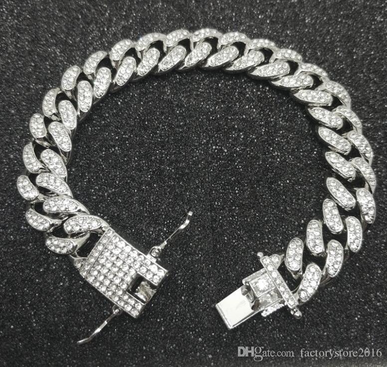 Para hombre de lujo hacia fuera helado de moda del diamante brazaletes de las pulseras de alta calidad de oro cubana eslabón de la cadena de joyería Miami pulsera de Hip Hop