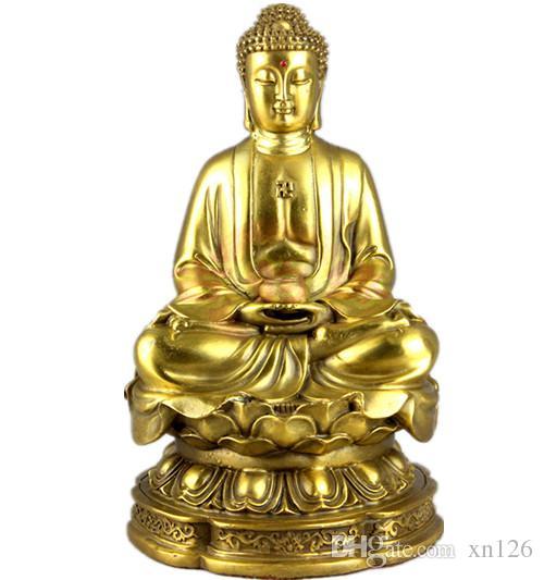 Чистая медь статуя Будды бронзовый Будда Шакьямуни открытая ладонь Будды