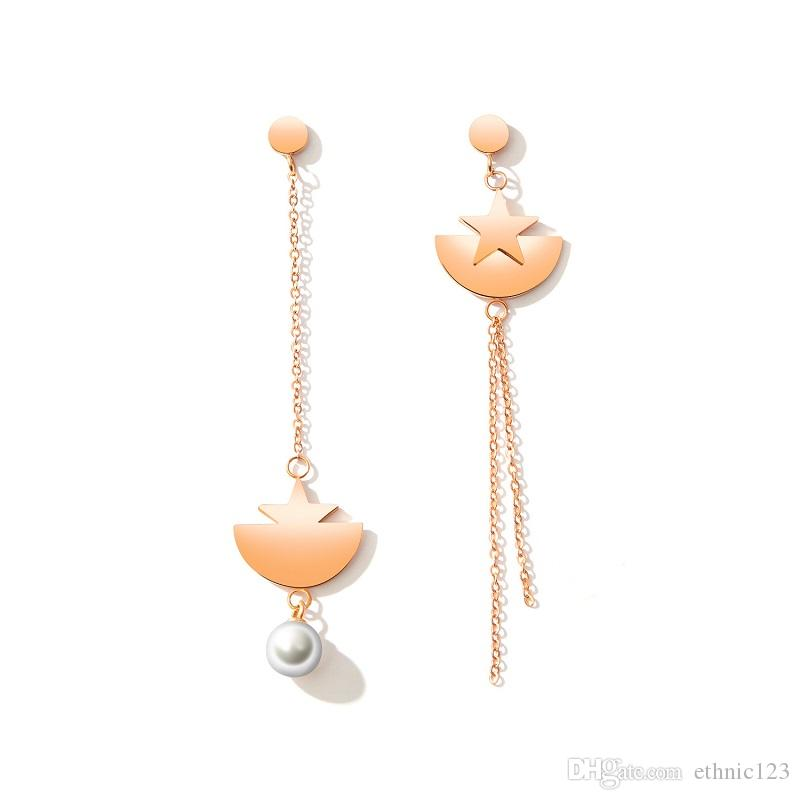 Gold Color Fashion Simple Lady's Asymmetric Pearl Tassel Star Earrings Stainless Steel Earring Jewelry Gift for Women Lady 461