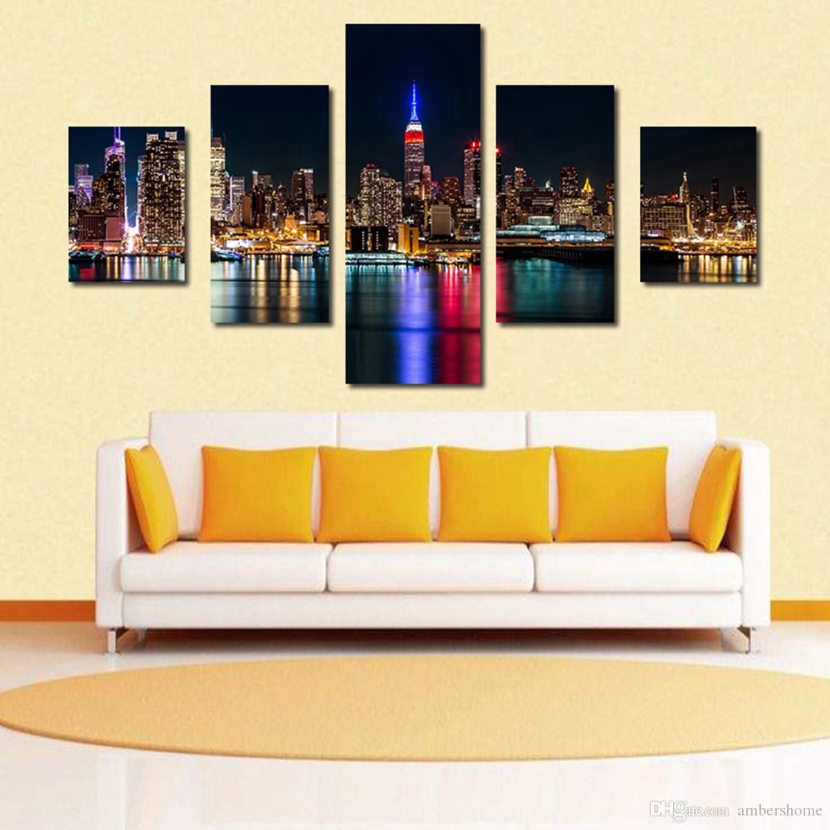 Five City Night Scene Hand-painted Painting Canvas Art Decorative ...