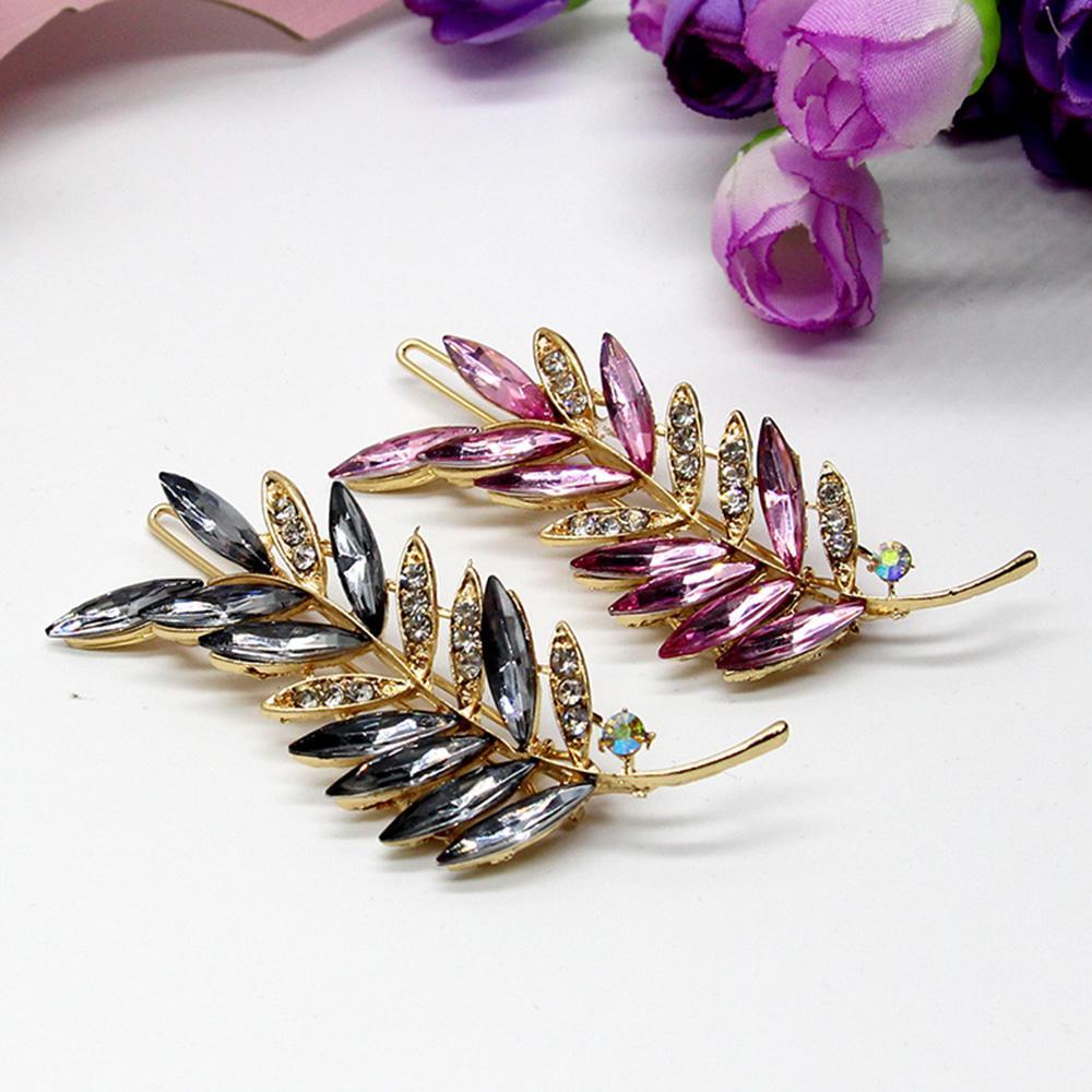 Kristal Çiçek Rhinestone Saç Klip Barrette Firkete Şapkalar Aksesuarları Takı Kadın Kızlar Düğün Için