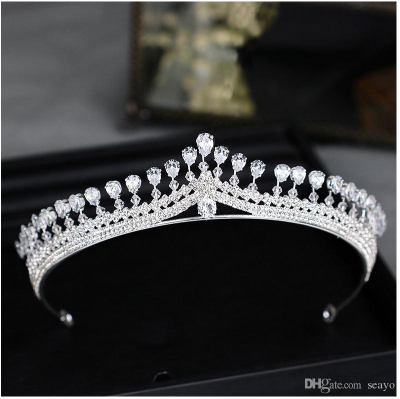 2019 exquisita corona de cristal corona, aro de boda nupcial aro, plata circón cumpleaños corona ornamento, color blanco