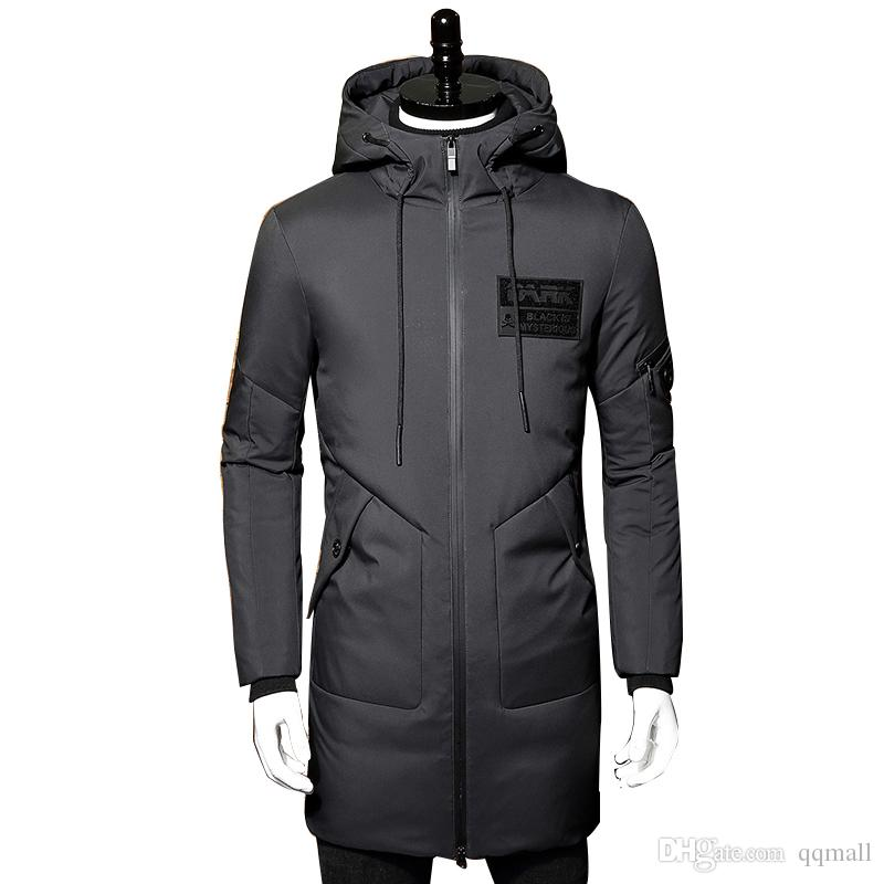 Winter Down Jacket Men Coat Hooded Long White Duck Down Parka Thickening Warm Outwear Wellensteyn Men Winter Jacket