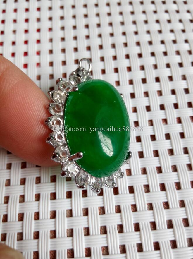 Doğal Yeşil Gem Malay Taş Kolye 925 Ayar Gümüş Kolye Moda Kristal Kolye Kolye takı Toptan F1