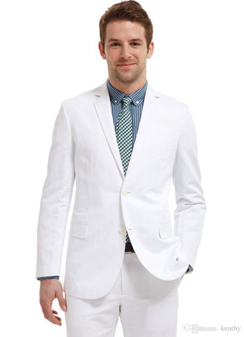 Casual 2018 Summer Beach White Linen Men Suits Custom Made Slim Fit Wedding Suits Bridegroom Groomsmen 2Piece Best Man Prom Tuxedos Blazer