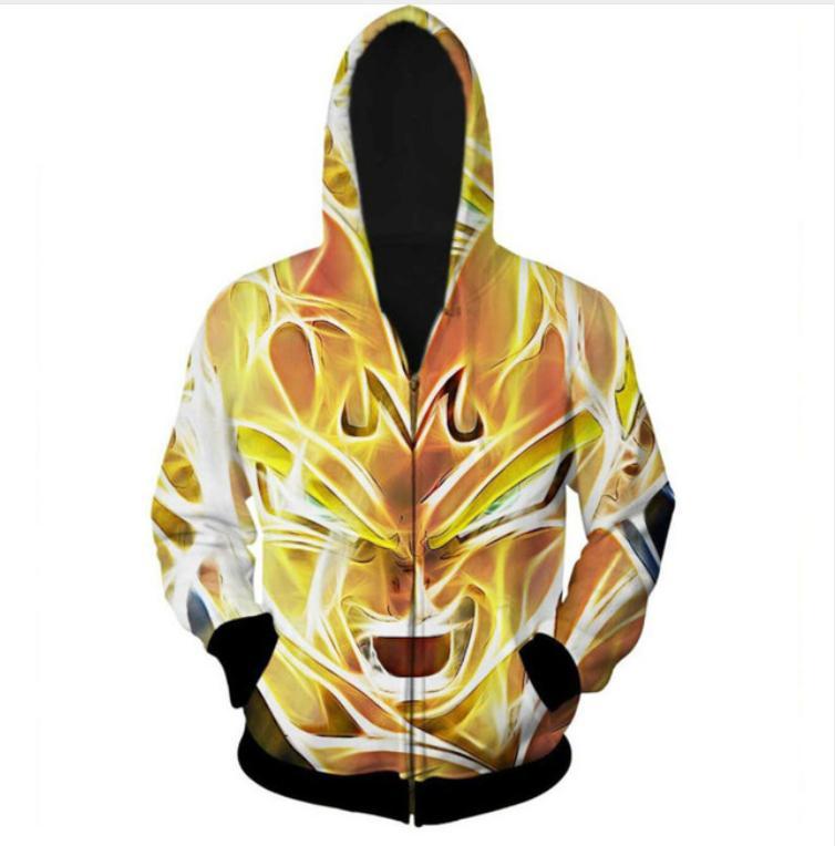 New Fashion Zipper Hoodie Dragon Ball Z Goku 3D Print Zip-Up Hoodies Psychedelic Sweatshirt Men/Women Harajuku Outfits Tops YY022