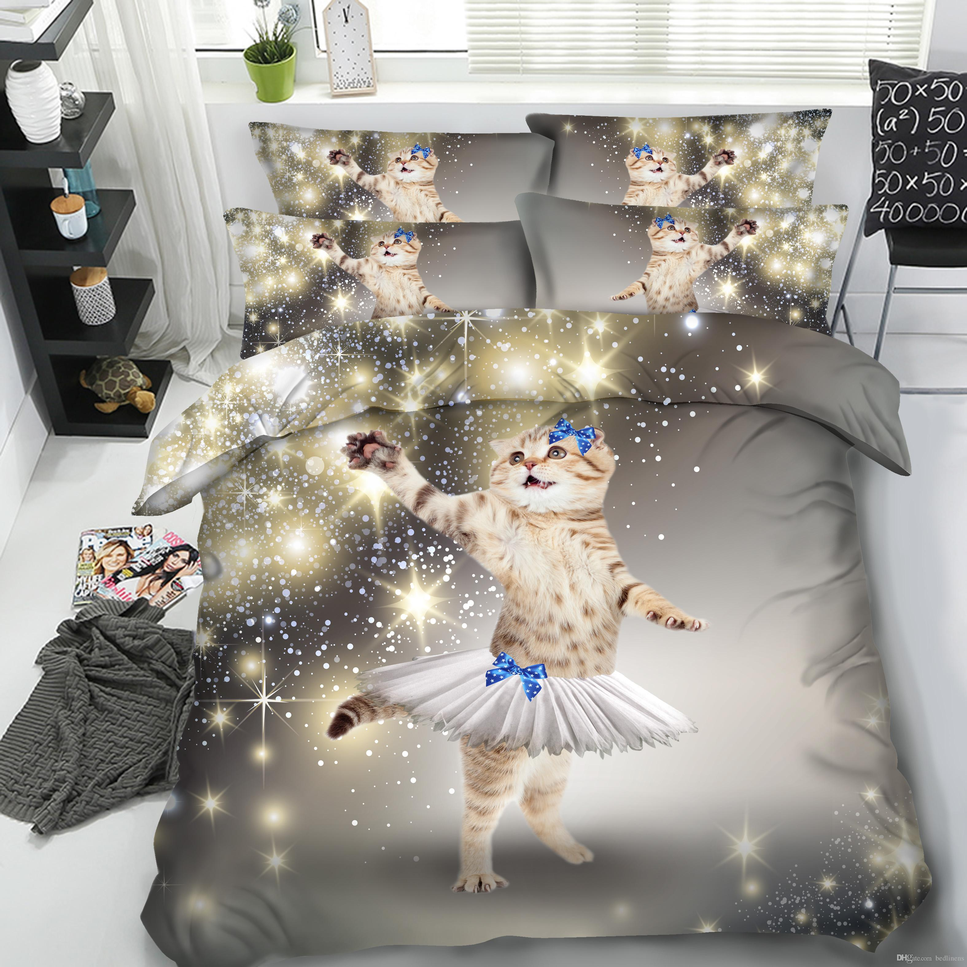3D Printed Dress Galaxy Cat Bedding Set Twin Full Queen King Size Bedspread Bedclothes Duvet Covers Pillow Shams 3PC Comforter Set Animal