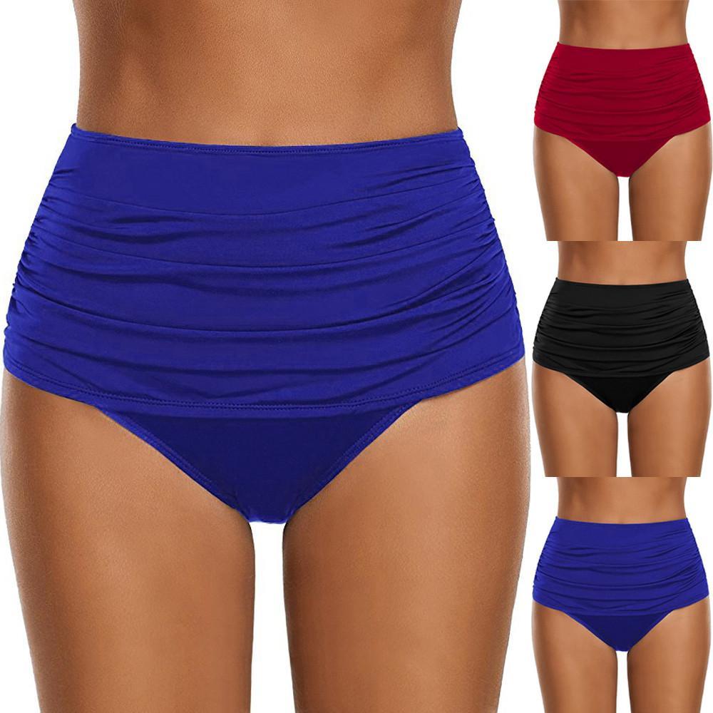 2018 زائد الحجم المرأة عالية مخصر السباحة أسفل ruched بيكيني tankini ملخصات داخلية ثونغ المايوه monokini