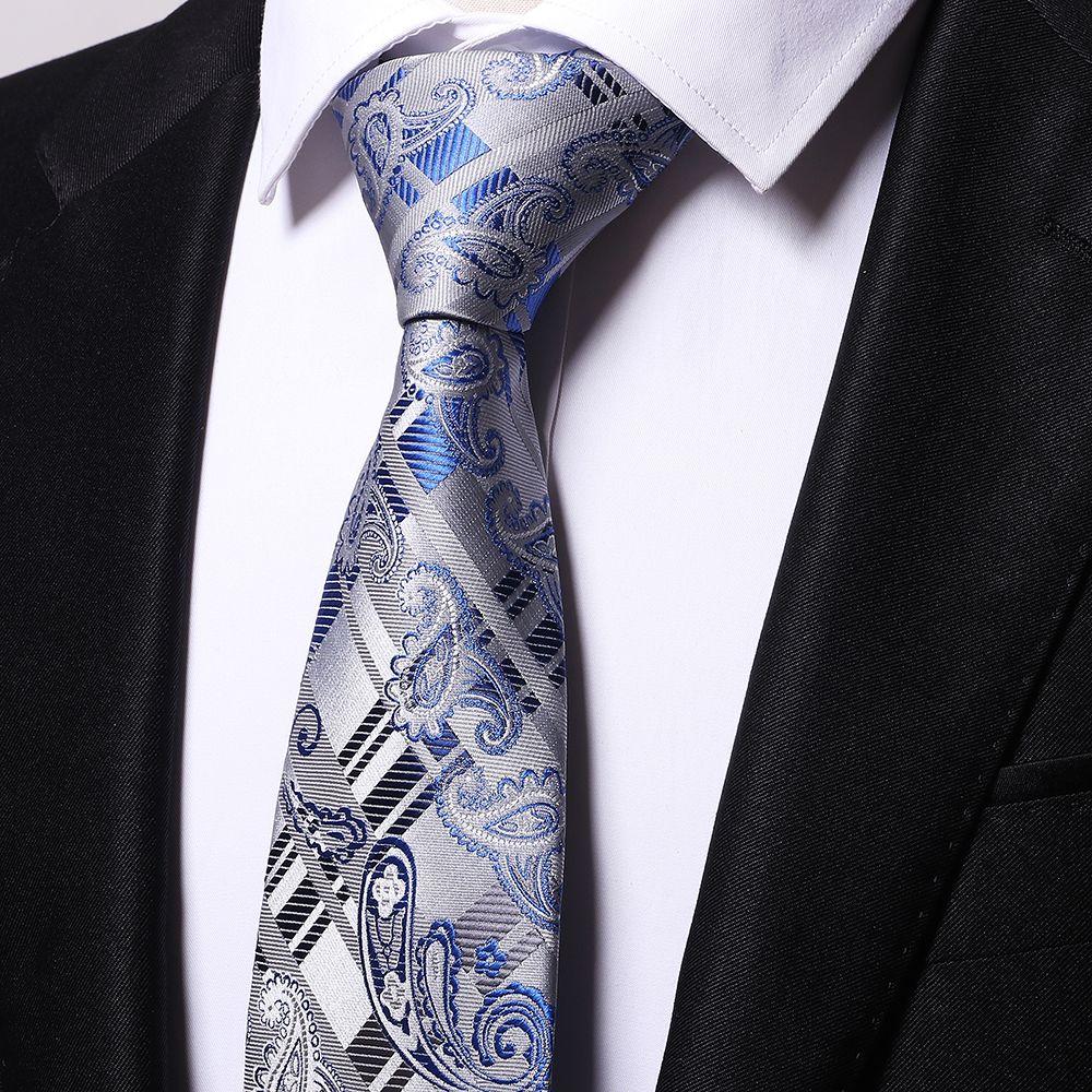 Atacado 100% de seda paisley azul laços homens 2017 casamento cravate jacquard tecido Gravata Partido Business Formal Presente de Aniversário B0004