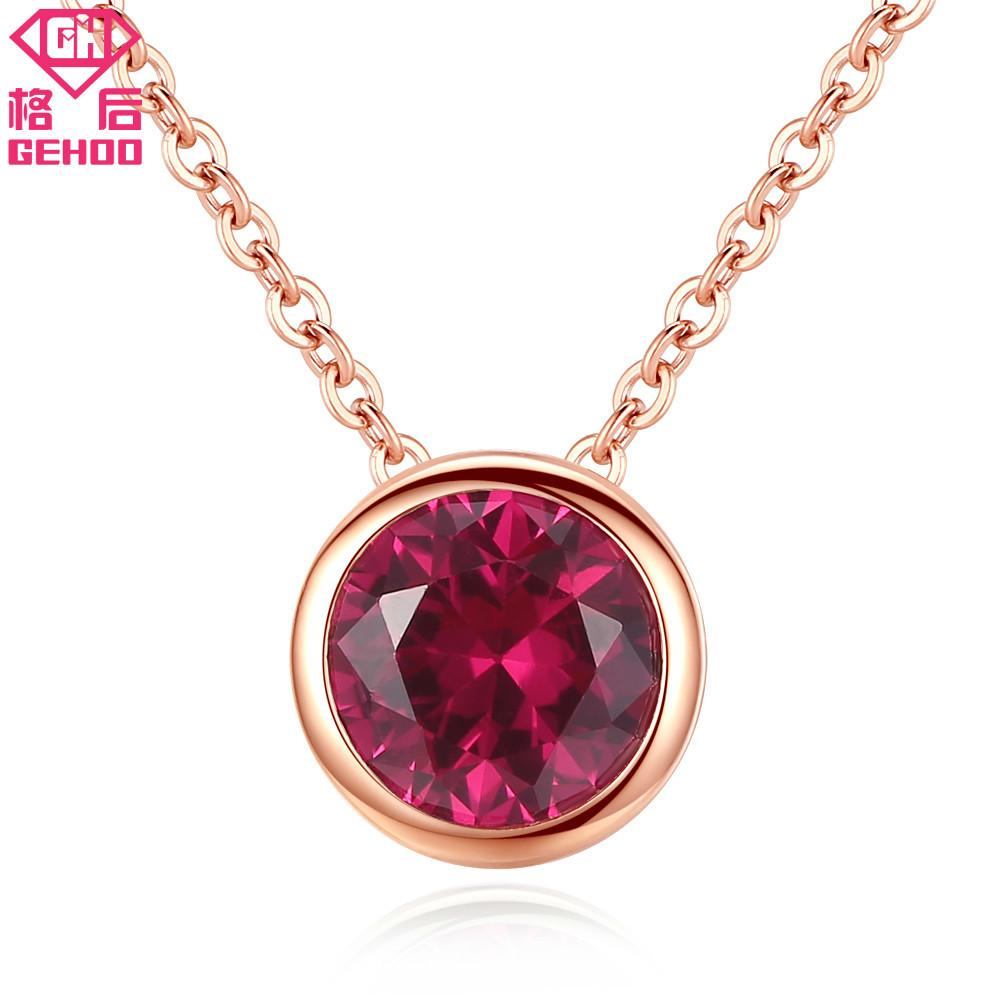 GEHOO Simple Red Ruby Pendant Solid 925 Sterling Silver Collar Choker Women Wedding Fine Jewelry Rose Gold Chain Charm Necklaces Y1892806