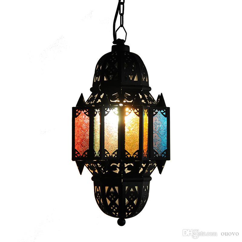 Il Marocco vari Colorgul Gates Iron Pendant Light Spedizione gratuita Colorful glass gates Corridoio Corridoio Balcone Dining Room Pendant Light