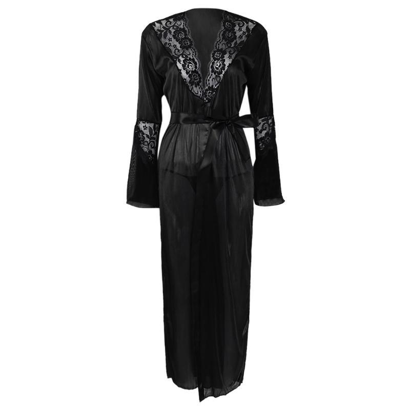 Womens Sexy Long Kimono Dress Lace Bath Robe Lingerie Ice Silk Nightdress Solid