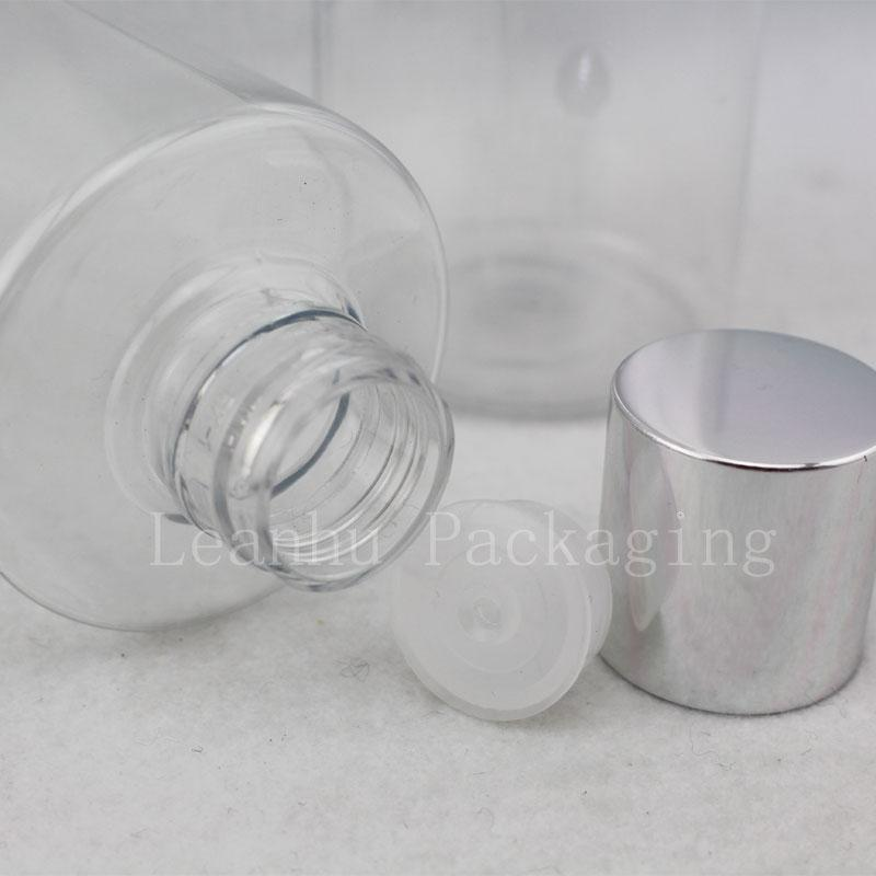300ml transparent bottle with silver screw cap (2)