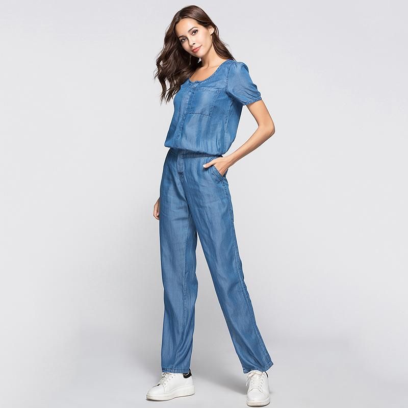 top-rated quality many choices of so cheap ESCALIER Womens Denim Jumpsuit Blue Long Pants 2018 Fashion Loose Tencel  Playsuit Plus Size Women Clothing S 3XL Working Rompers Canada 2019 From ...