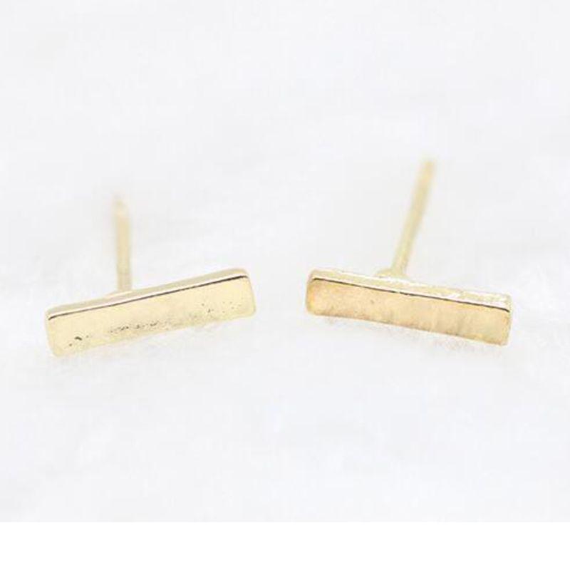 c77a1ae6b5c72 2018 2016 Fashion Gold Plated Silver Plated Black Punk Simple T Bar  Earrings For Women Ear Stud Line Earrings Fine Jewelry Minimalist Earrings  From ...