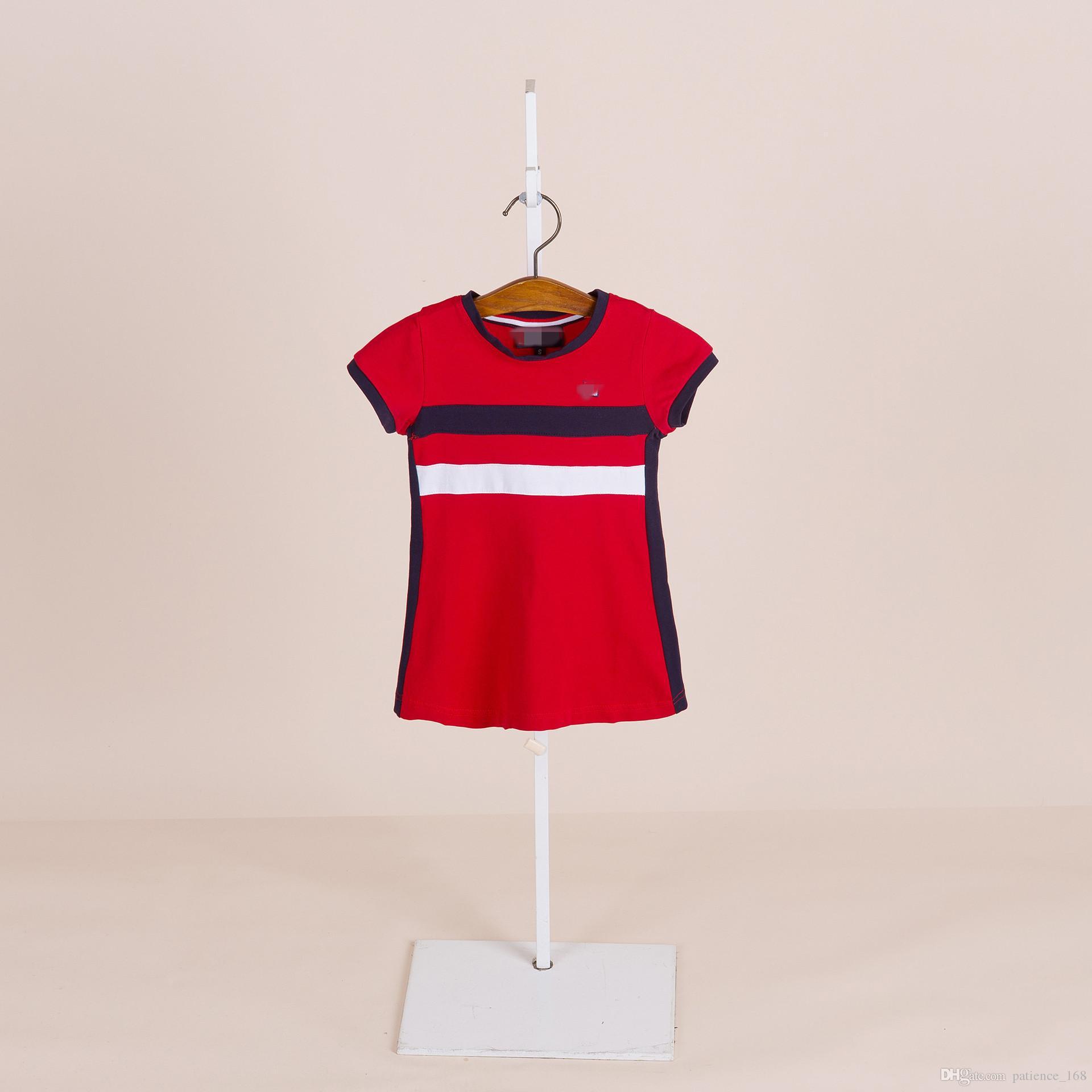 3 colori 2018 estate europea e americana NUOVO arrivo ragazze bambini in puro cotone gonna a maglia da tennis per bambini ragazza rotonda abito collare